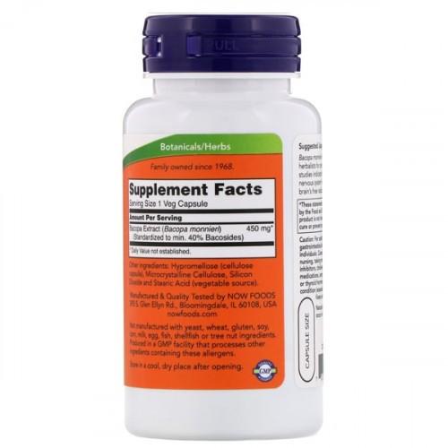 Bacopa Monnieri - Now Foods ( 90 Cápsulas - 450 mg )