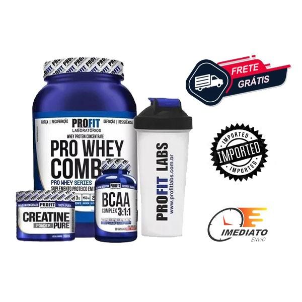 Combo Hipertrofia   Whey Protein + Bcaa + Creatina + Coqueteleira