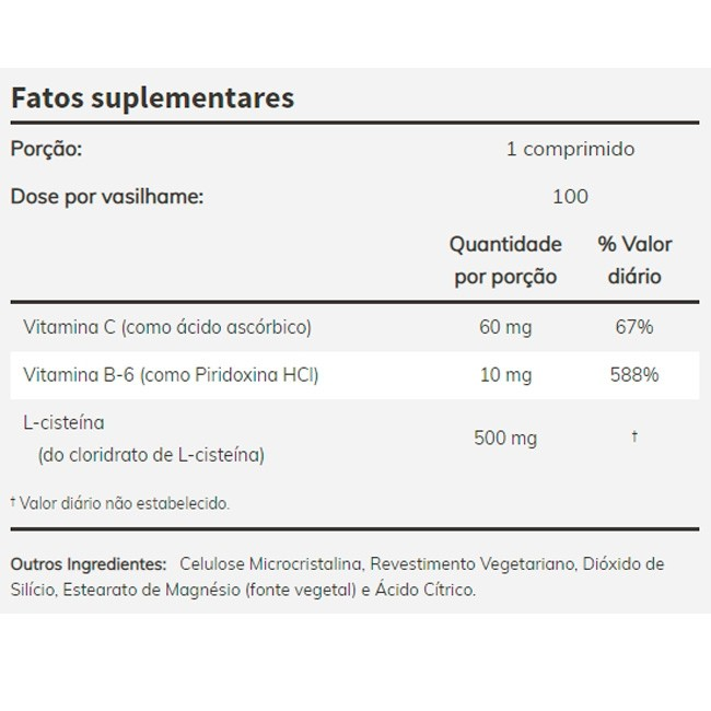 L Cisteína - Now Foods (500 mg - 100 Tablets)