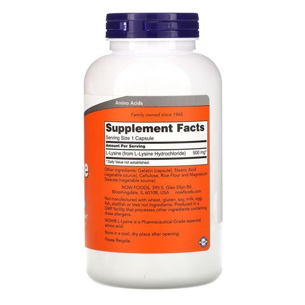 L Lisina - Now Foods (500 mg - 100 Cápsulas)