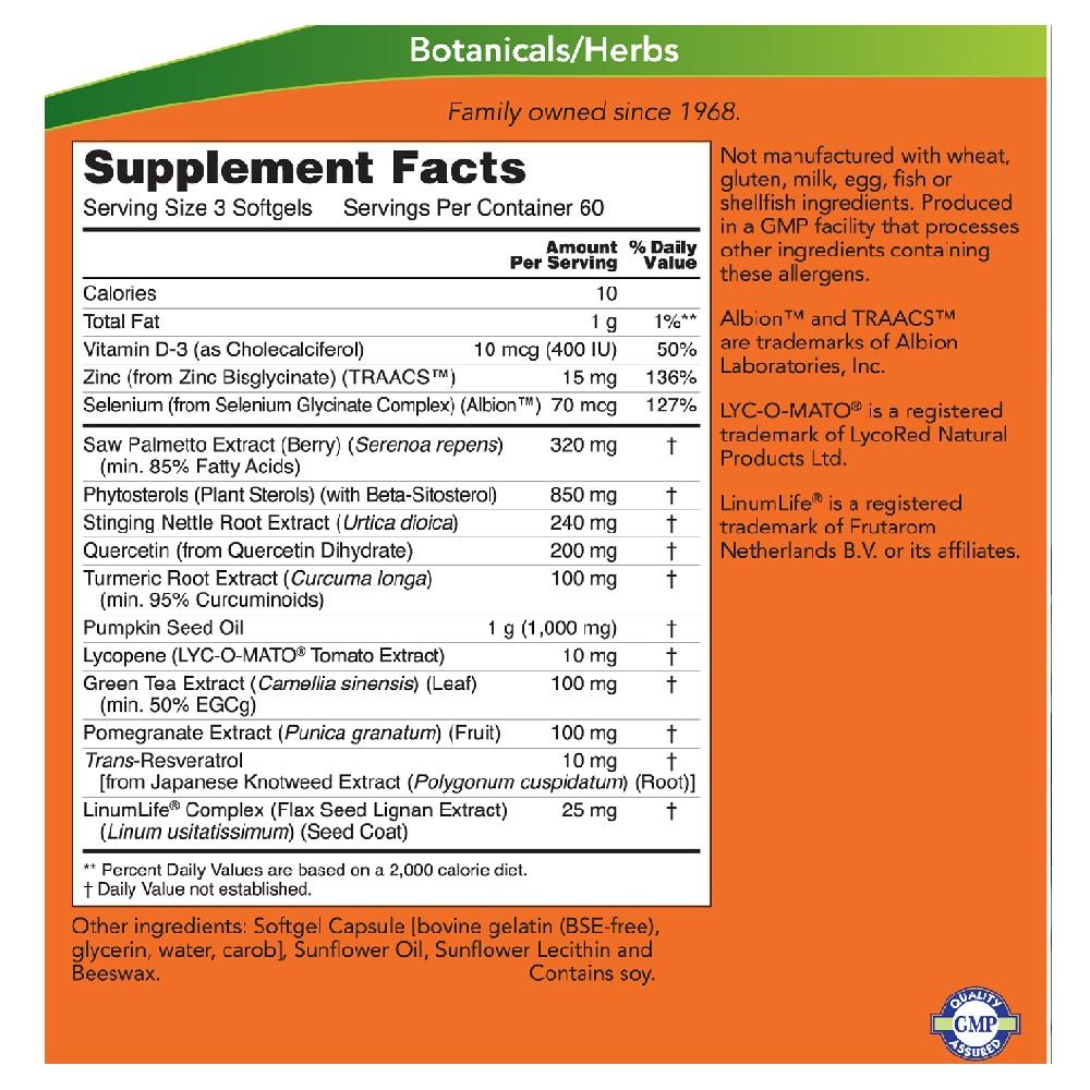 Suporte para Próstata - Now Foods | Tratamento e prevenção aumentada
