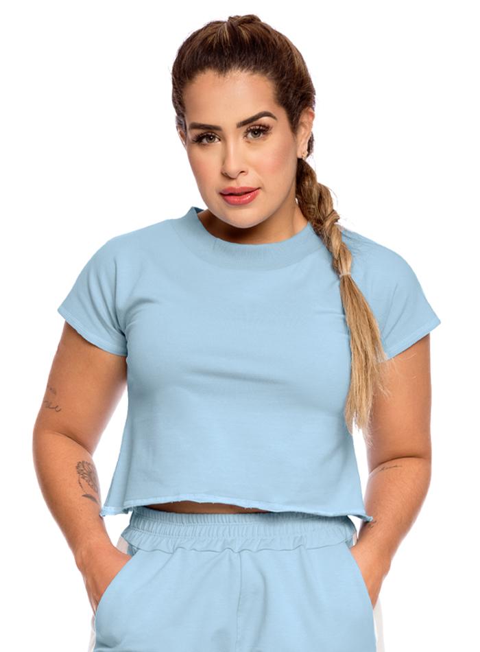 Blusa Cropped Moletom Inspire Azul