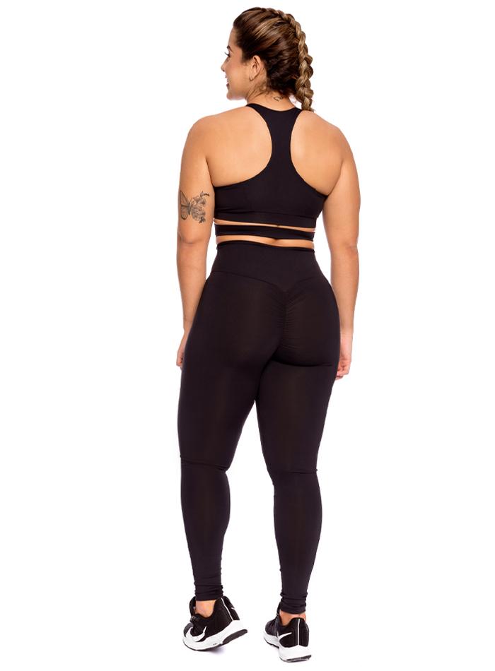 Conjunto Fitness Top com Legging Levanta Bumbum Preto