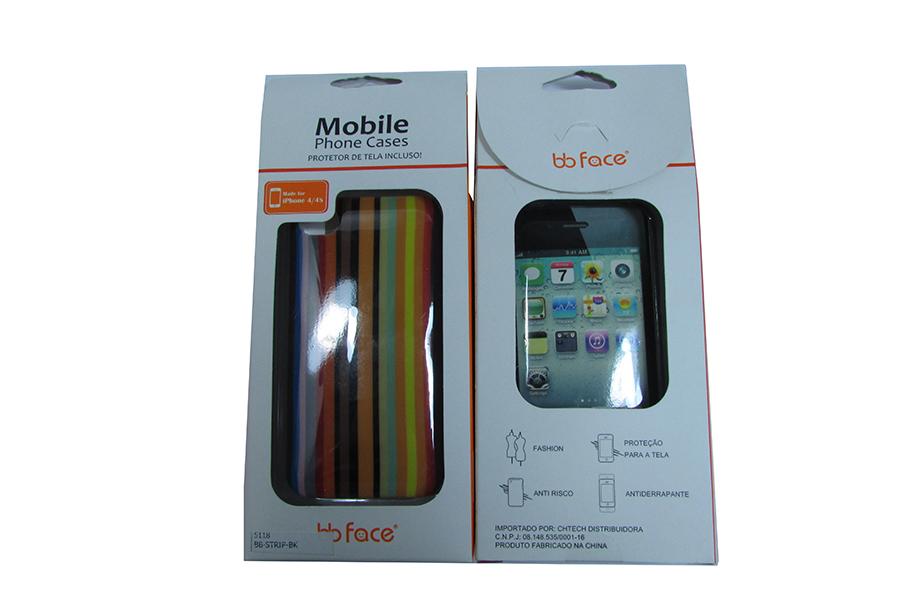 Capa de IPhone 4/4S de Policarbonato Texturizado Em Linhas Coloridas BB-STRIPE-BK Acompanha Película Protetora Aplicador de Película Flanela para Limpeza