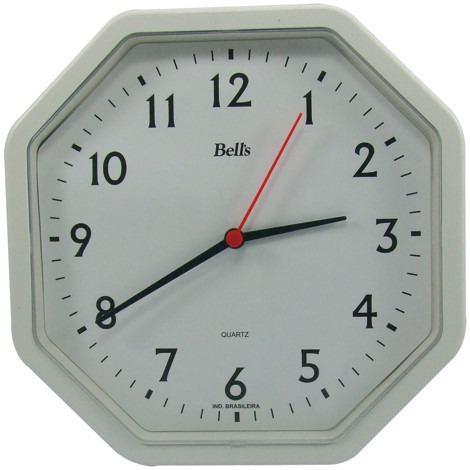 Relógio Bells Branco Octagonal ,C/Borda Branca 22x22cm