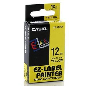 Fita Rotuladora Casio Xr-12Yw1 12mm Preto no Amarelo para Etiquetadora Kl