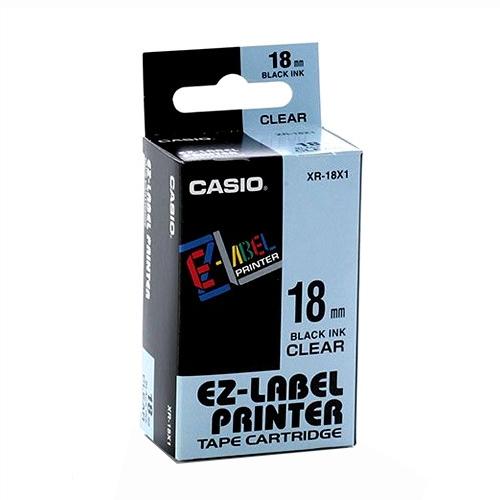 Fita Rotuladora Casio XR-18X1 18mm preto no transparente para etiquetadora KL