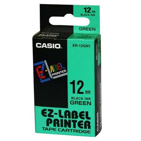 Fita Rotuladora Casio Xr-12Gn1 12mm Preto no Verde para Etiquetadora Kl