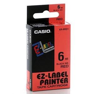 Fita Rotuladora Casio XR-6RD1 6mm preto no vermelho para etiquetadora KL