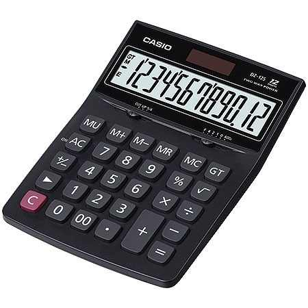 Calculadora de mesa Casio DZ-12S-S4-DP Preto 12 Dígitos, Solar e Bateria