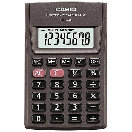 Calculadora de Bolso Casio HL-4A-S4-DP Preta Big Display, 8 Dígitos, 4 Operações