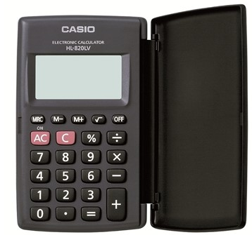Calculadora de Bolso Casio HL-820LV-BK-S4-DH Preta, 8 Dígitos com Tampa