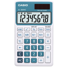 Calculadora de bolso Casio Colorful SL-300NC-BU-S-DH 8 dígitos, Cálculo de hora, Cálculo de bolso, Azul