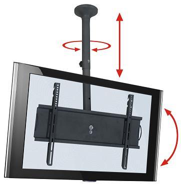 Suporte de TETO com Inclinação para TVs LCD/PLASMA/LED de 32´´ a 52´´. Altura Regulável 750 a 1.400mm Multivisão SKYPRÓ-M Preto