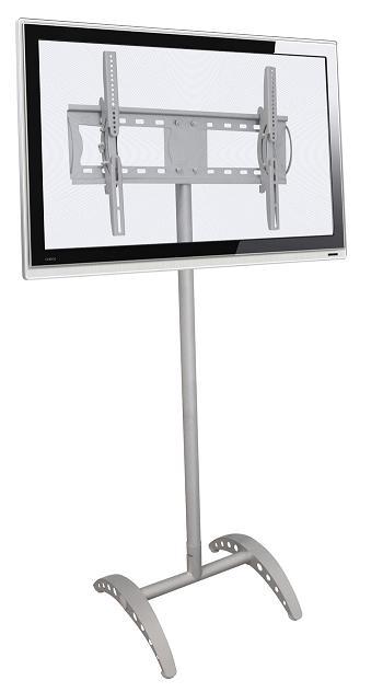 Pedestal de Chão para TVs LCD/PLASMA/LED de 32´´ a 52´´ Multivisão UNIPRÓ ARCO + Suporte p/ DVD V250 Prata
