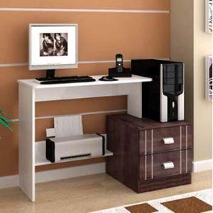 Mesa para Computador, Acessórios e Impressora + Suporte para Monitor LCD até 17´´ Multivisão  PREMIUM Branco c/ tabaco