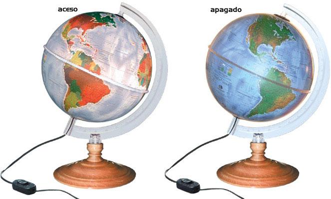 Globo Terrestre Físico e Político Libreria Star 220v Iluminado 21cm Base Madeira