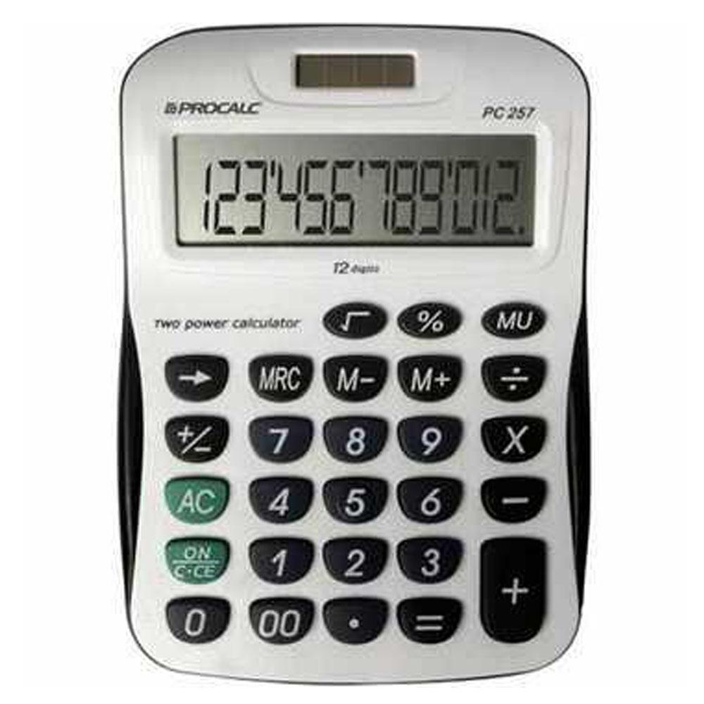 Calculadora de Mesa Procalc Pc257 12 Díg Grandes Solar/Bateria Visor Inclinado