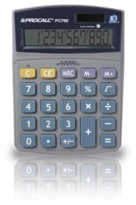 Calculadora de Mesa Procalc Pc780 10 Díg Grandes Solar/Bateria Visor Inclinado