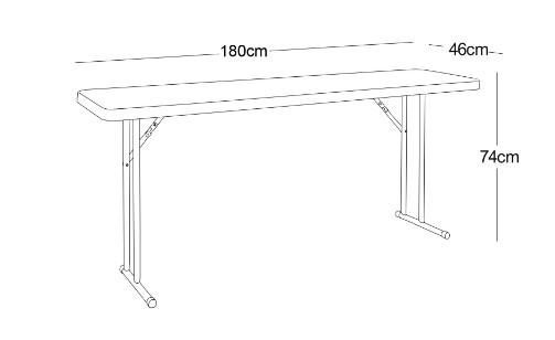 Mesa Retangular Dobrável de Treinamento Duratec MRT180 180x46 cm