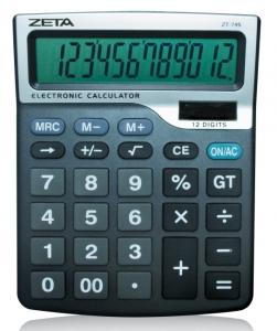 Calculadora de Mesa Zeta Zt-745 12 Díg Grandes Solar/Pilha (Aa) Tamanho Grande