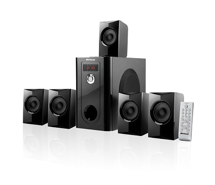 Home Theater Multilaser Black Wave Sp070 2.1/5.1 Black Piano 110W Rms com Fm e Usb