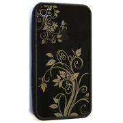 Capa de IPhone 4 de Policarbonato Texturizado Em Linhas Coloridas BB-FLORAL-BK Acompanha Película Protetora Aplicador de Película Flanela para Limpeza