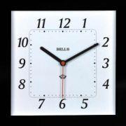 RELOGIO BELLS BRANCO, QUADRADO,BORDA PRETA,24,6X24,6CM