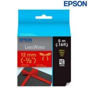 Fita Epson Lc-4Rkk5 Tecido 12mm Dourado no Vermelho para Rotulador