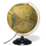 Globo Terrestre Libreria c/ 30cm de diâmetro, base plástico, 3 mapas em 1: configução física apagado e política quando aceso e histórica 110V - Iluminado HISTORICO