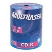 Midia CD-R 700Mb 52X 80 Minutos CD-R52XS100ML Shrink Com 100 UNIDADES MULTILASER