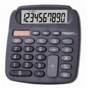 Calculadora de mesa Truly 808A-10 - 10 dígitos, cor preta, visor grande, solar/bateria (G10) - NOVA VERSÃO DO 808-10