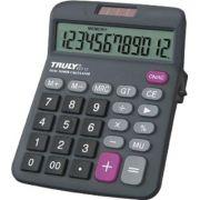 Calculadora de Mesa Truly 833-12 - 12 dígitos grandes, botão lateral on/off, solar/pilha AA (1.5V), visor inclinado