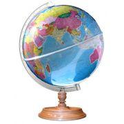 Globo Terrestre Politico Libreria c/ 30cm de diametro, base de madeira, países diferenciados por cores em degradê - PRISMA