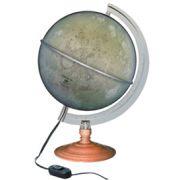 Globo Lunar Libreria  Lua Prata com 21 cm de diâmetro, base madeira, com iluminação interna 110v principais crateras, lagos e montes da Lua