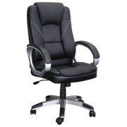 Cadeira a Gas Presidente Com regulagem de altura revestida em couro Ecologico - Preta - CAD-PRES-PLUS-PR