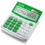 Calculadora de mesa Elgin MV4126, 12 dígitos, solar/bateria G10,dim.12,5x10x1,5cm; 0,150 kg, branco/verde