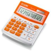 Calculadora Mesa Elgin Mv4128 12 Díg Solar/Bateria G10 150g Branco/Laranja