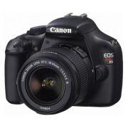 Câmera Digital Reflex Canon Rebel T3 cod. 46RREBELT3K0 sensor CMOS de 12,2 Mpixel, acompanha lente 18-55 mm, ISO 100-6400, filma em HD, disparo de 3 fps, Display  de 2,7´, Compatível com cartões SD/SD