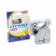 Fita Poliéster Dymo Adesiva Rotulador Eletrônico 12mm x 7Mts Preto/Azul 45016