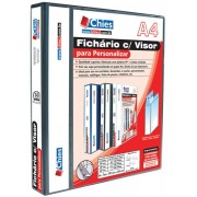 Fichário Chies com Visor para Personalizar - 2 Argolas - A4 - Preta - Ref.:1889-7