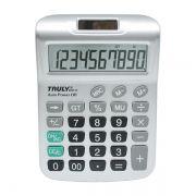 Calculadora de Mesa Truly 6001 com 10 Díg Prata Solar e Bateria Visor Extra Grande