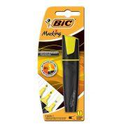 Caneta Marca Texto Bic Marking Amarelo com 3 tipos de marcação fina grossa sublinhado