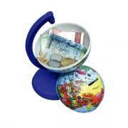 Globo Terrestre Libreria 10cm Millenium Azul Royal 310054 Politico Cofrinho