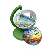 Globo Terrestre Libreria 10cm Millenium Verde 310085 Politico Base Plástico Cofrinho