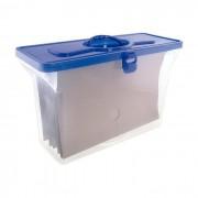 Maleta Arquivo Empilhavel Dello 0332.C Azul com 6 Pastas Suspensas Dellokraft