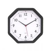 Relógio Bells Branco Octagonal,C/Borda Preta 22x22cm