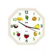 Relógio Bells Frutas Octagonal com Borda Branca