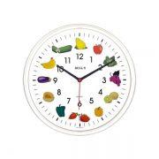 Relógio Bells Branco Desenho Frutas Borda Branca, Diam 25,8 cm