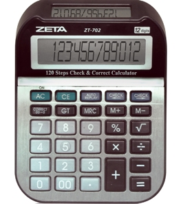 Calculadora de Mesa ZETA ZT-702 - 12 dígitos, duplo visor (para 2 pessoas), bateria, função c/ 120 passos check